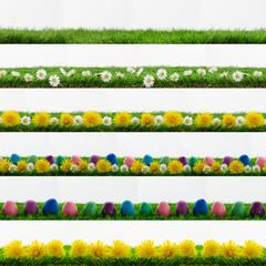 Ostern Header Frühling Blumen Ostereier Eier