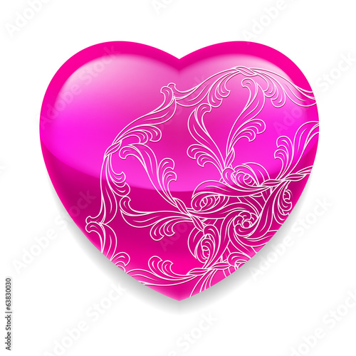 Shiny pink heart with decor
