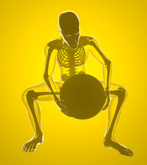 Corpo umano piegato con le ginocchia, ai raggi x