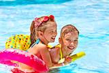 Children  in swimming pool.