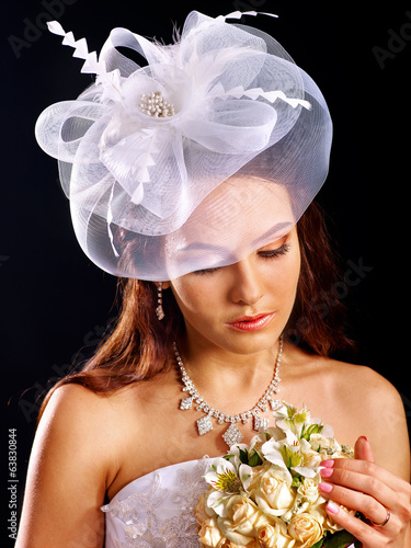 Woman wearing wedding dress .