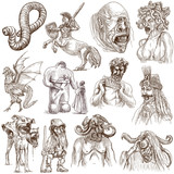 Myths and Legendary Monsters around the World (white set no. 1) poster