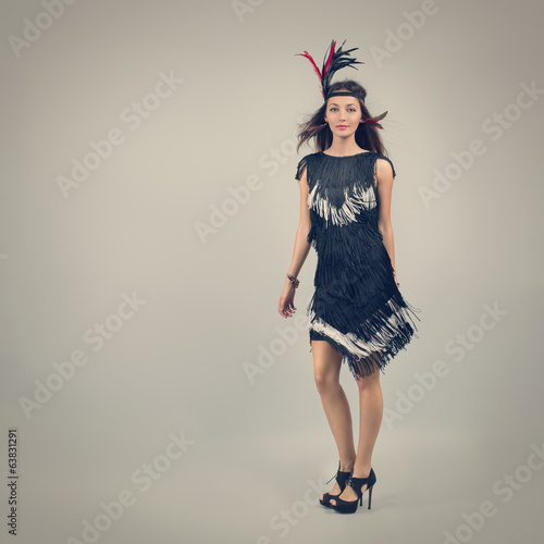 Retro Fashion Woman on Gray Background