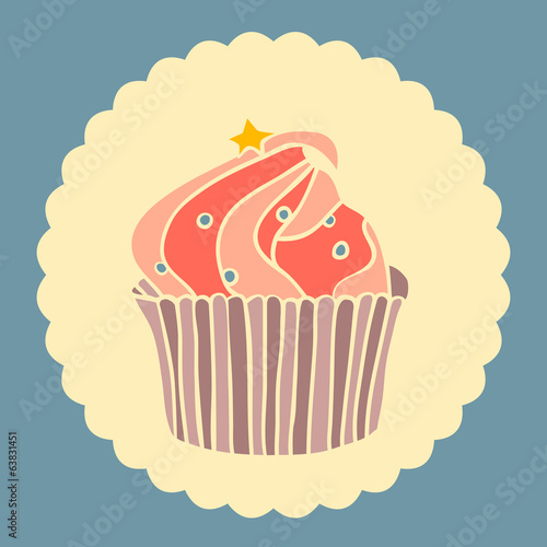 Vintage vector illustration of cupcake with star.