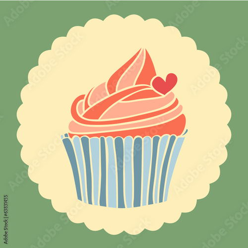 Vintage vector illustration of cupcake with heart.