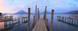 Leinwandbild Motiv Pier on the Atitlan Lake in Guatemala at Sunrise