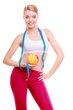 Diet. Fitness woman fit girl with measure tape and apple fruit