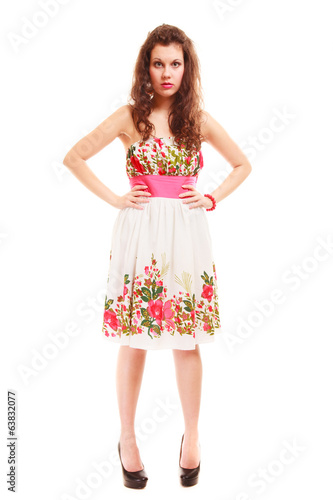 Full length woman girl in summer floral dress isolated. Fashion.