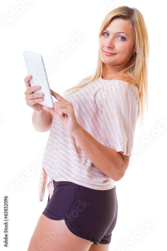Woman girl using tablet touchpad reading e-book e-reader