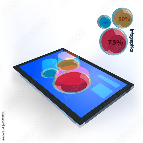 Infographics template with a 3d bar graph on the touchscreen of