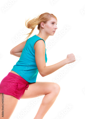 Fitness girl sport woman running jogging isolated