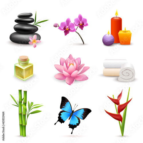 Realistic spa icons