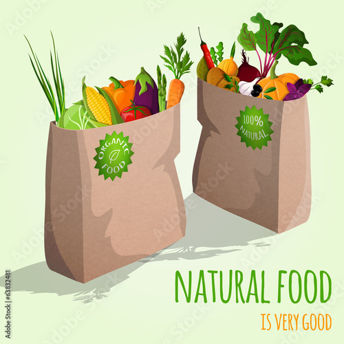 Vegetables in bags concept