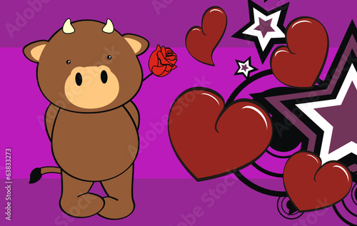 bull baby cute cartoon valentine card