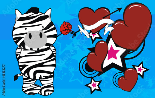 zebra cute cartoon rose valentine card