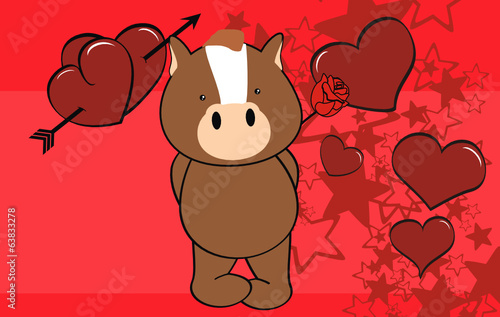 horse baby cartoon cute rose valentine card