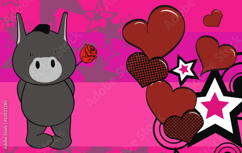 donkey cute baby valentine cartoon rose card