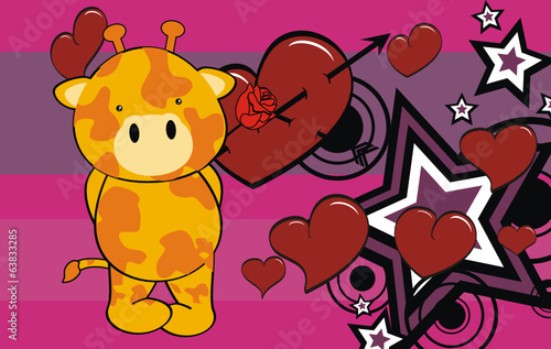 giraffe baby cartoon cute rose background