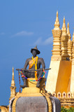 Pha That Luang, the golden stupa on the outskirts of Vientiane, poster