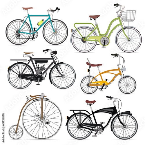 Bicycle set. Vector Illustration.