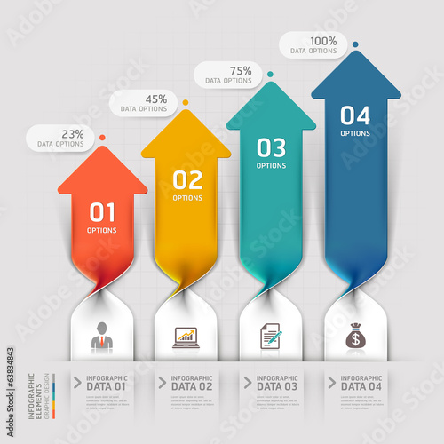 Modern Arrow business spiral infographics option. Vector illustr