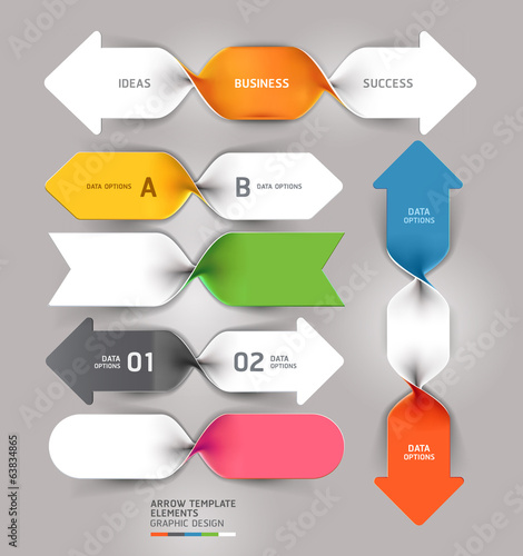 Modern arrow business spiral infographics template. Vector illus