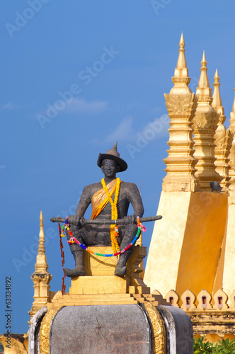 Pha That Luang, the golden stupa on the outskirts of Vientiane,