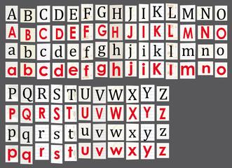 Anonymous alphabet on grey background.