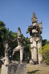 Buddha park in Vientiane, Laos. Famous travel tourist landmark o
