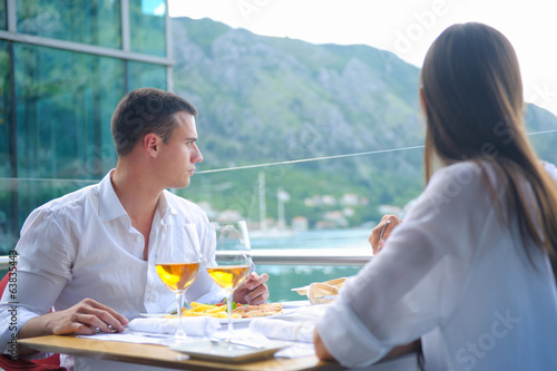 couple having lunch at beautiful restaurant