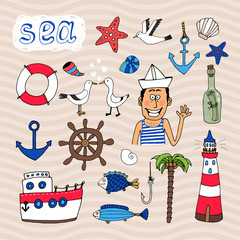 Hand drawn Nautical Elements