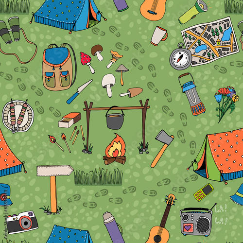 Seamless camping background vector pattern