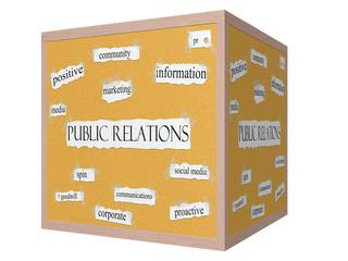 Public Relations 3D cube Corkboard Word Concept