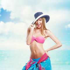 Happy Beautiful Woman In Bikini At Beach