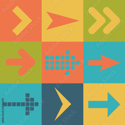 Set arrow icons, flat UI web design elements trend, vector