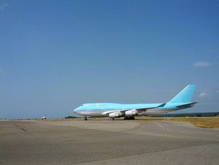 big airliner praparing to take of at the airport
