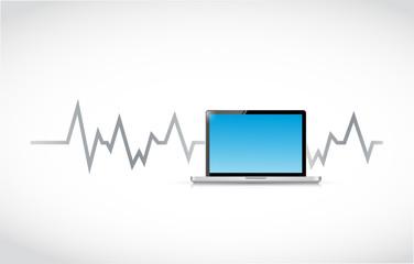 computer and lifeline illustration design