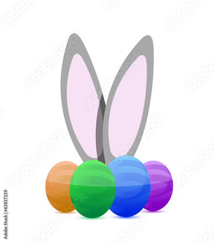 happy eastern eggs and bunny illustration