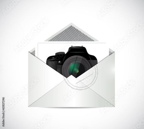camera inside an envelope illustration design