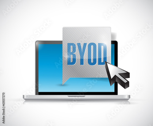 byod message and laptop illustration design