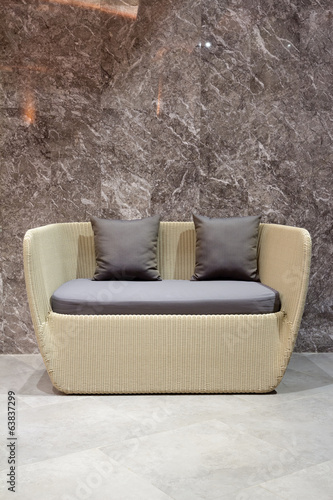 modern two-seat wooden sofa