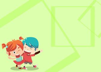 Friendship Card - Irish and Akito Walking Together