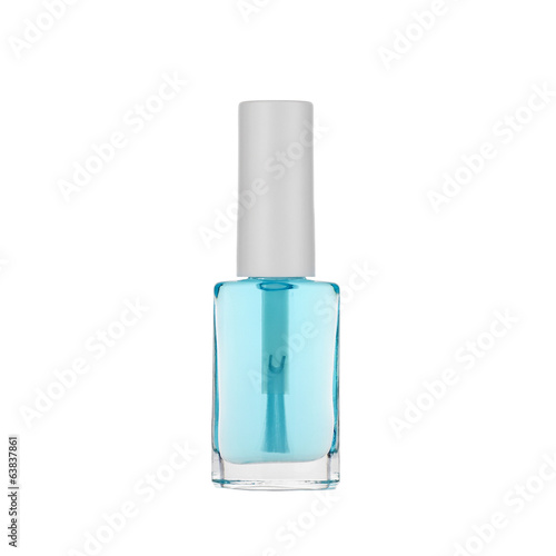 Blue nail polish isolated on white