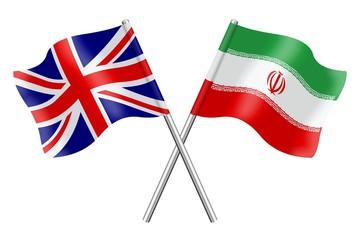 Flags: United Kingdom and Iran