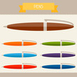 Pens colored templates for your design in flat style.