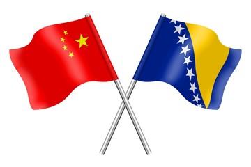 Flags: China and Bosnia-Herzegovina