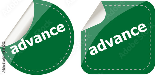 advance word stickers set, icon button, business concept