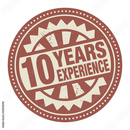 Abstract stamp or label with the text 10 years experience writte