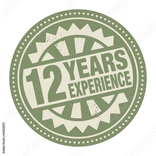 Abstract stamp or label with the text 12 years experience writte