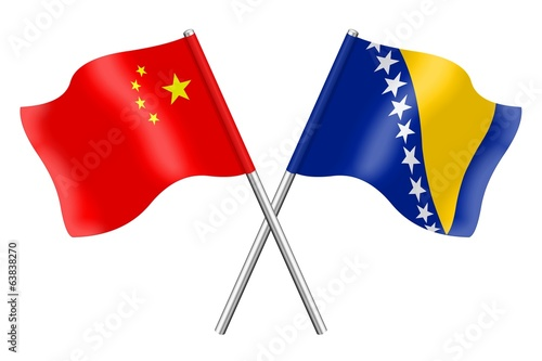 Flags: China and Bosnia-Herzegovina